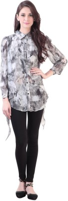 Vvine Party, Casual Full Sleeve Printed Women's Grey Top