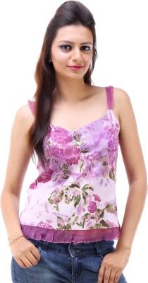Avon Apparels Casual Sleeveless Floral Print Women's Purple Top