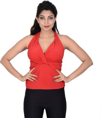 Danzon Party, Casual, Beach Wear, Festive Sleeveless Solid Women's Red Top