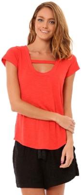 Minty Meets Munt Casual Short Sleeve Solid Women's Orange Top