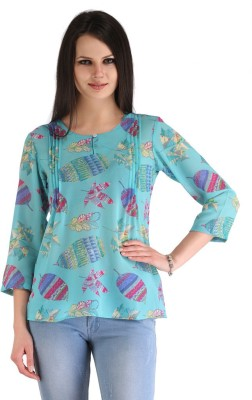 ZAIRE Casual 3/4 Sleeve Printed Women's Blue Top