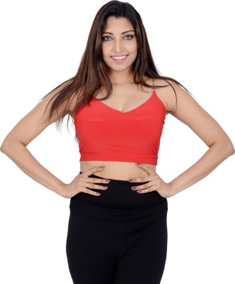 Danzon Party, Casual Noodle strap Solid Women's Red Top