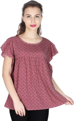 UVR Casual Cap sleeve Printed Women's Maroon Top