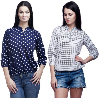 Mallory Winston Casual 3/4 Sleeve Polka Print, Checkered Women's Blue, White Top