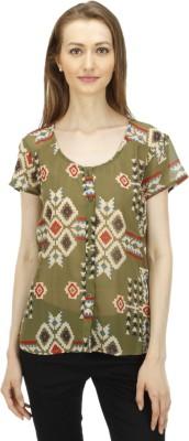 1OAK Casual Short Sleeve Geometric Print Women's Green Top