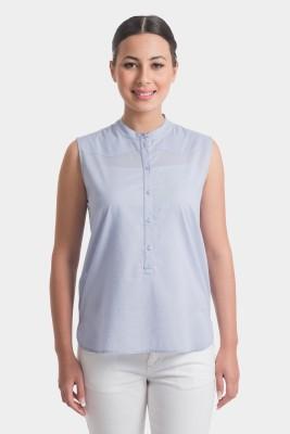 Bhane Casual Sleeveless Solid Women's Light Blue Top