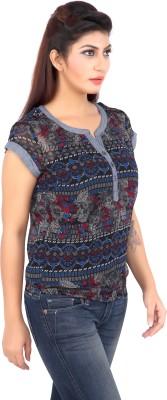Liwa Casual Short Sleeve Printed Women's Blue Top