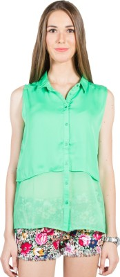 My Addiction Casual Sleeveless Solid Women's Green Top
