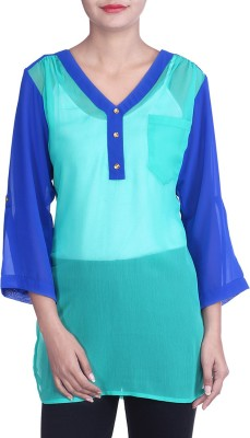 Indicot Casual, Party 3/4 Sleeve Solid Women's Blue Top