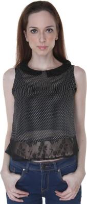 Rigoglioso Formal, Casual Sleeveless Polka Print Women's Black, White Top