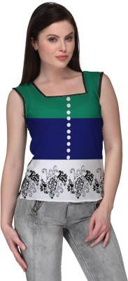 Avya Casual Sleeveless Floral Print Women's Blue Top