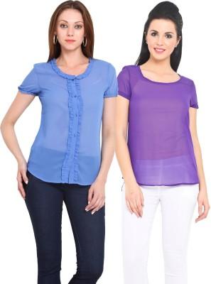 Sweet Lemon Casual Short Sleeve Solid Women's Blue, Purple Top