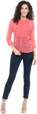 C2 Casual 3/4 Sleeve Solid Women's Pink Top