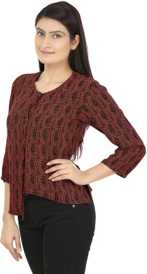 Eves Pret A Porter Casual 3/4 Sleeve Printed Women's Brown, Black Top