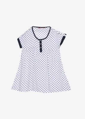Cherokee Kids Casual Short Sleeve Printed Girl,s White, Blue Top