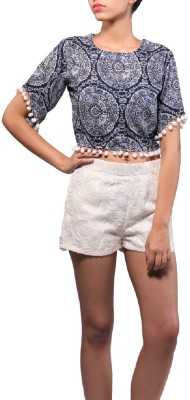 Dishomas Casual, Beach Wear Short Sleeve Paisley Women's Blue Top