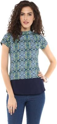 Magnetic Designs Casual Short Sleeve Geometric Print Women's Blue Top