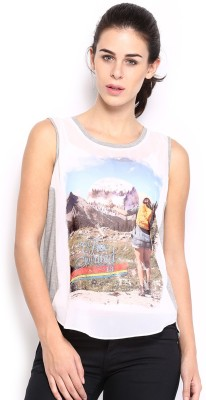 HRX by Hrithik Roshan Casual Sleeveless Printed Women's White Top at flipkart