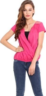 Instacrush Casual Short Sleeve Solid Women,s Pink Top