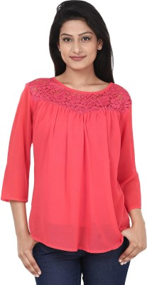 Anam Export Casual 3/4 Sleeve Solid Women's Red Top
