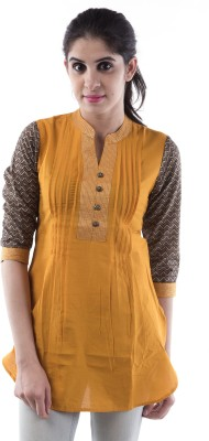 City Cavos Casual 3/4 Sleeve Solid Women's Yellow Top