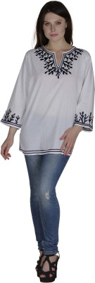 Heart Made Casual Full Sleeve Embroidered Women's White Top