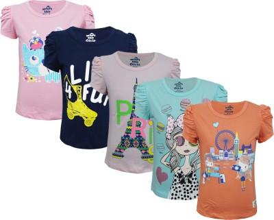 Kothari Casual Short Sleeve Printed Girl's Multicolor Top