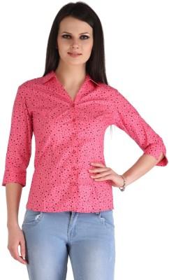 ZAIRE Casual 3/4 Sleeve Polka Print Women's Pink, Black Top