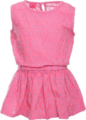 UFO Casual Sleeveless Embroidered Girl's Pink Top