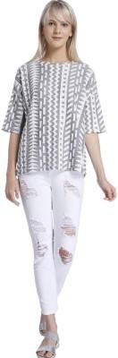Vero Moda Casual Short Sleeve Self Design Women's White Top