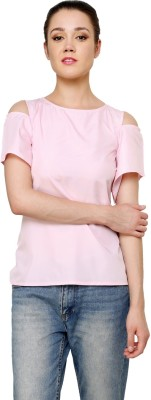 Jake Chiramel Casual Short Sleeve Solid Women's Pink Top