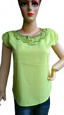 Sams Collection Casual Short Sleeve Solid Women's Green Top