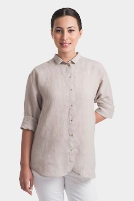 Bhane Casual Short Sleeve Solid Women's Beige Top