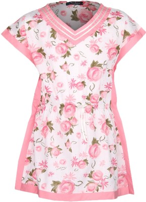 Cool Quotient Casual Cap sleeve Printed Girl's Pink Top