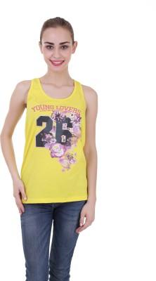 Skatti Casual Sleeveless Floral Print Women's Yellow Top