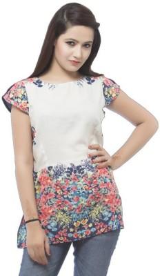 Dessara Festive Short Sleeve Floral Print Women's White Top