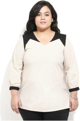 Amydus Casual Full Sleeve Self Design Women's Beige Top