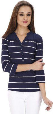 Svt Ada Collections Casual 3/4 Sleeve Striped Women's Dark Blue Top