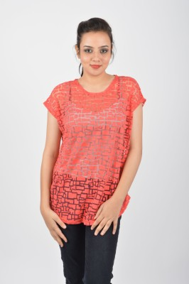 Merch21 Casual Sleeveless Printed Women's Red Top