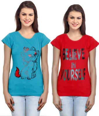 IndiWeaves Casual Short Sleeve Printed Girl's Blue, Red Top