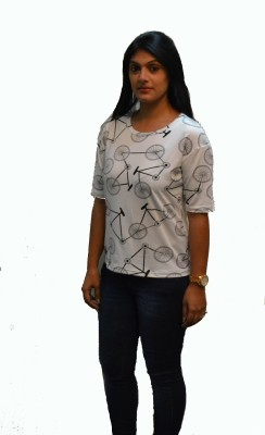 (Pg)Cott-Age Casual Short Sleeve Printed Women's White Top