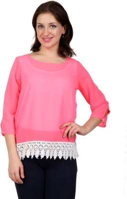 Lmode Casual, Party 3/4 Sleeve Solid Women's Pink Top