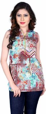 Aasvaa Casual Sleeveless Printed Women's Multicolor Top
