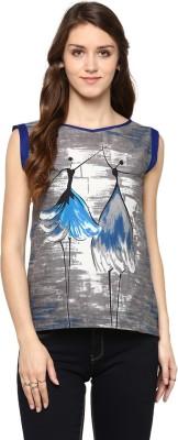 JaipurKurti Casual Sleeveless Graphic Print Women's Grey Top