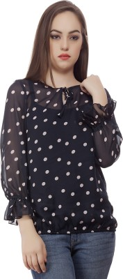 Mask Lifestyle Casual, Formal 3/4 Sleeve Polka Print Women,s Black Top