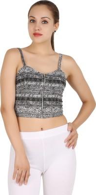 MA Casual Sleeveless Printed Women's Grey Top