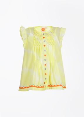 Nauti Nati Casual Short Sleeve Solid Girl's Yellow Top