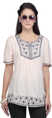 Viro Casual Short Sleeve Embroidered Women's Pink Top
