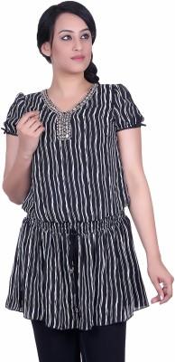 Sellsy Casual Short Sleeve Striped Women's Black Top