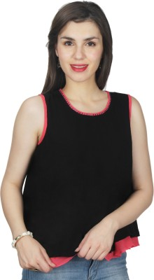 UVR Casual Sleeveless Solid Women's Black Top